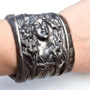 Antique Art Nouveau Face Lady Rare Cuff Bracelet